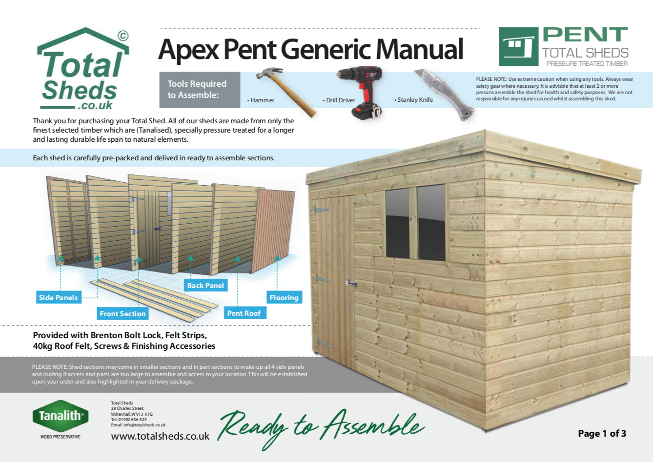 Pent Shed Installation Guide