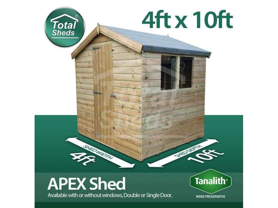 4ft X 10ft Apex Shed