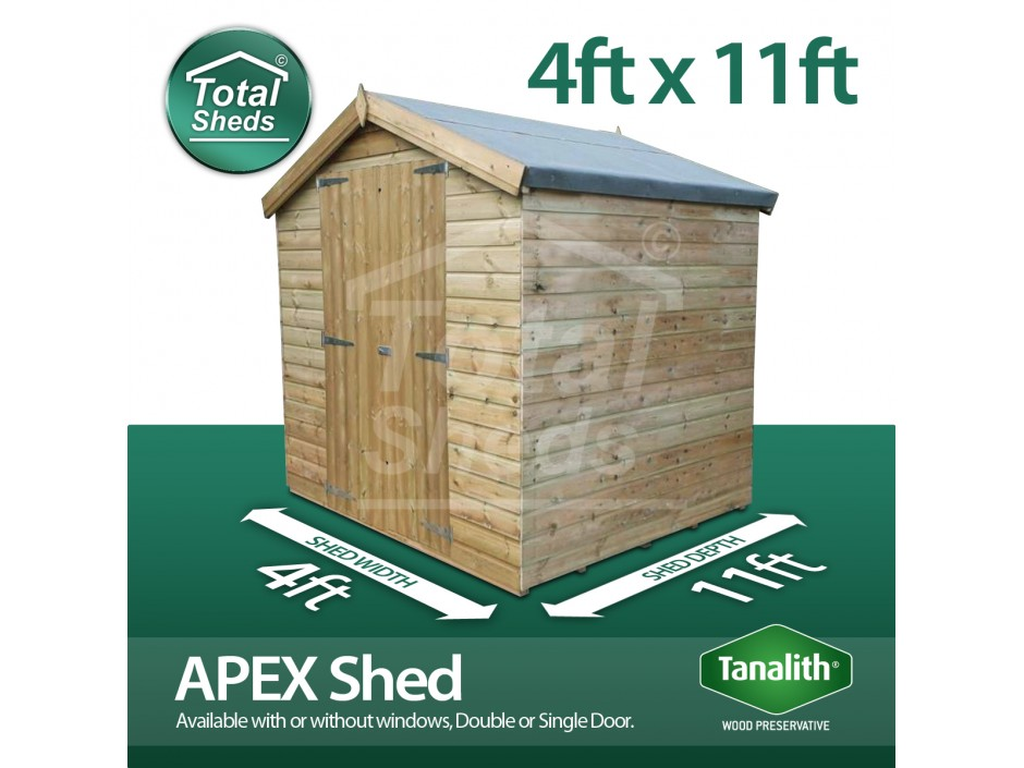 4ft X 11ft Apex Shed