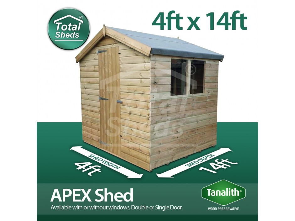 4ft X 14ft Apex Shed