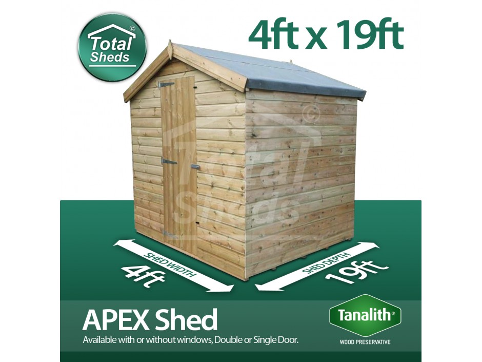 4ft X 19ft Apex Shed