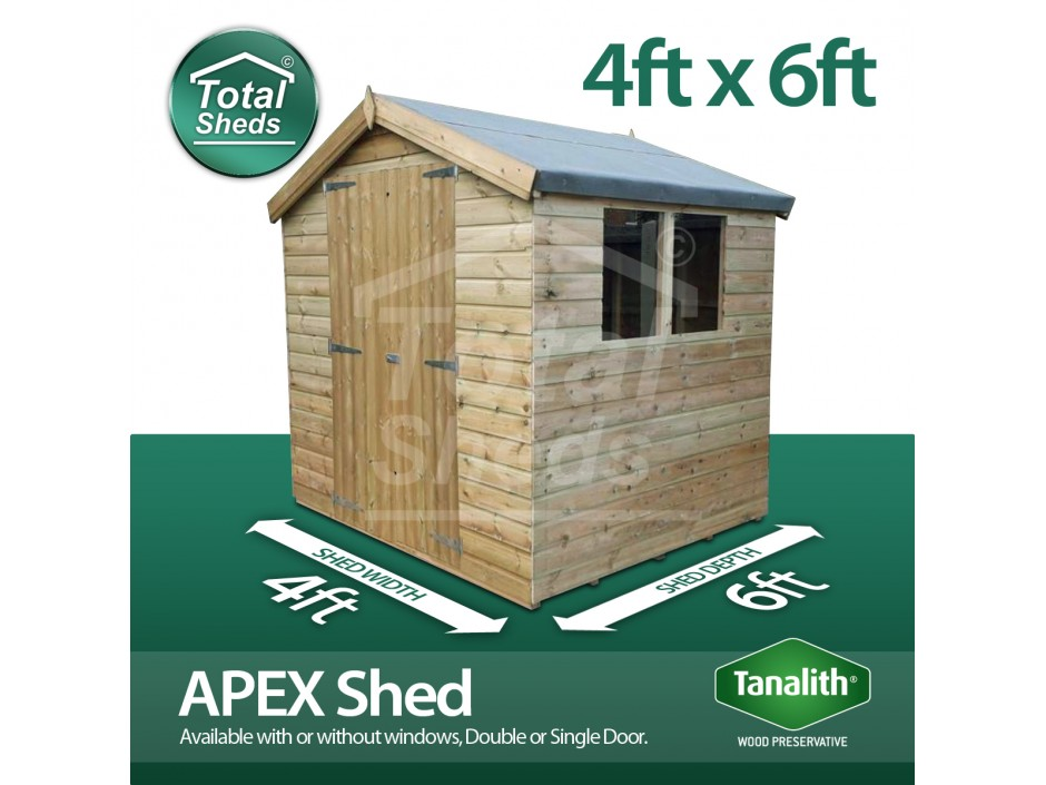 4ft X 6ft Apex Shed