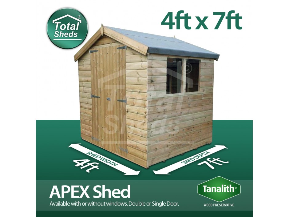 4ft X 7ft Apex Shed
