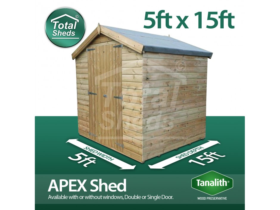 5ft X 15ft Apex Shed