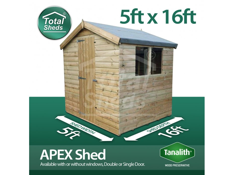 5ft X 16ft Apex Shed