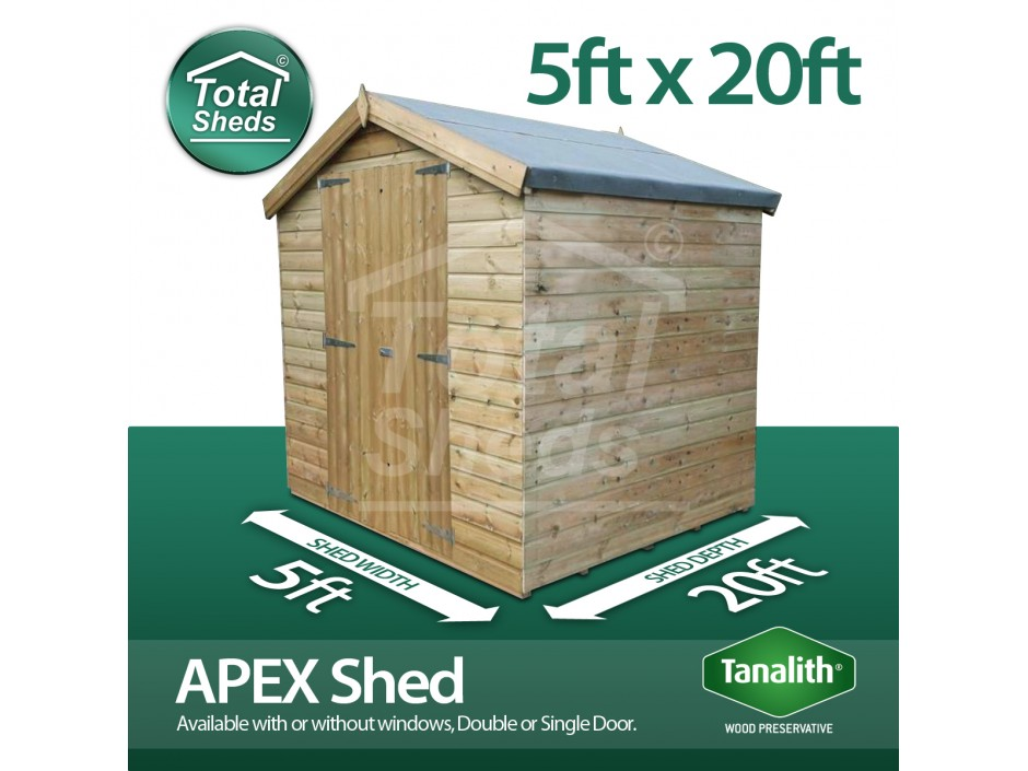 5ft X 20ft Apex Shed