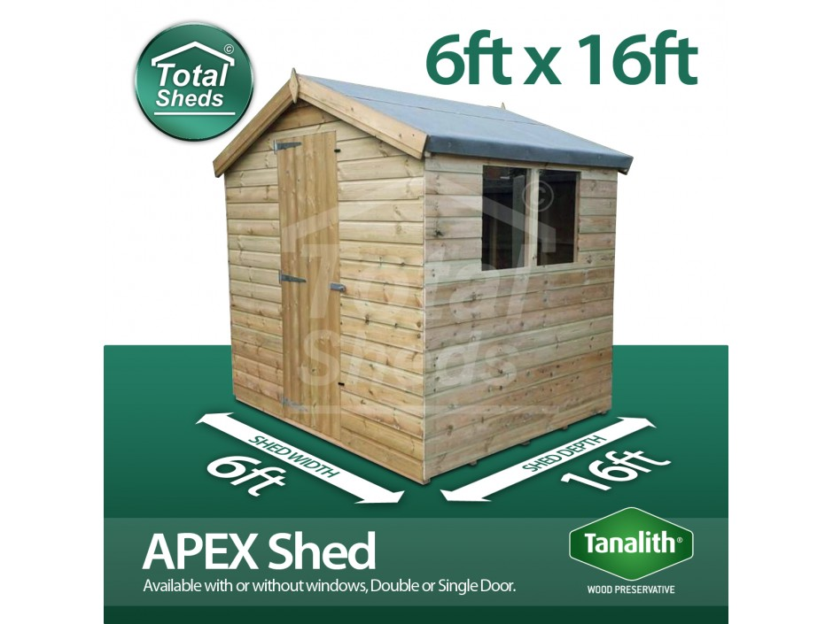 6ft X 16ft Apex Shed