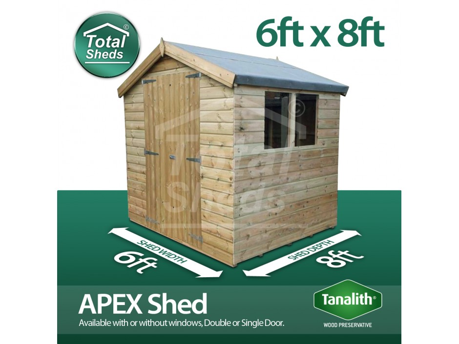 6ft X 8ft Apex Shed