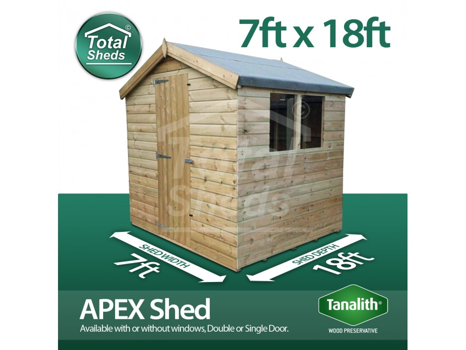 7ft X 18ft Apex Shed