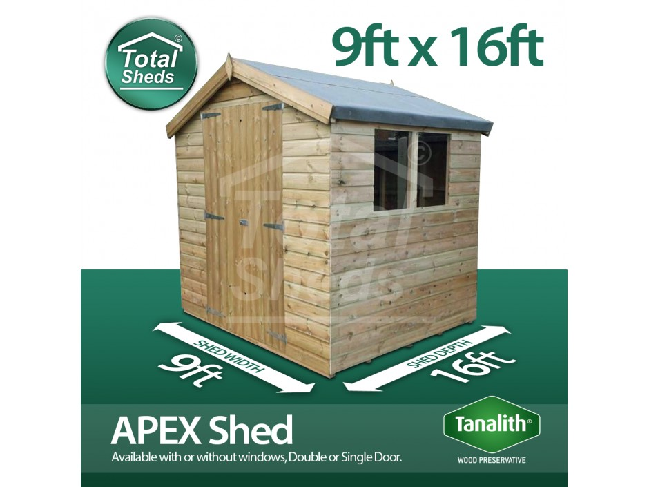 9ft x 16ft Apex Shed