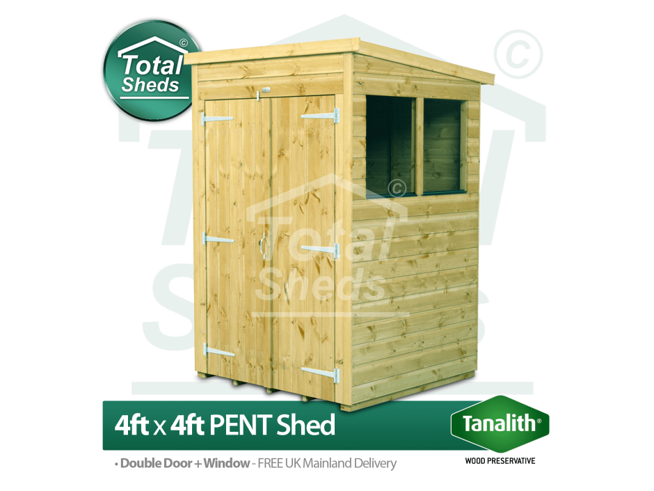 F&F 4ft x 4ft Pent Shed