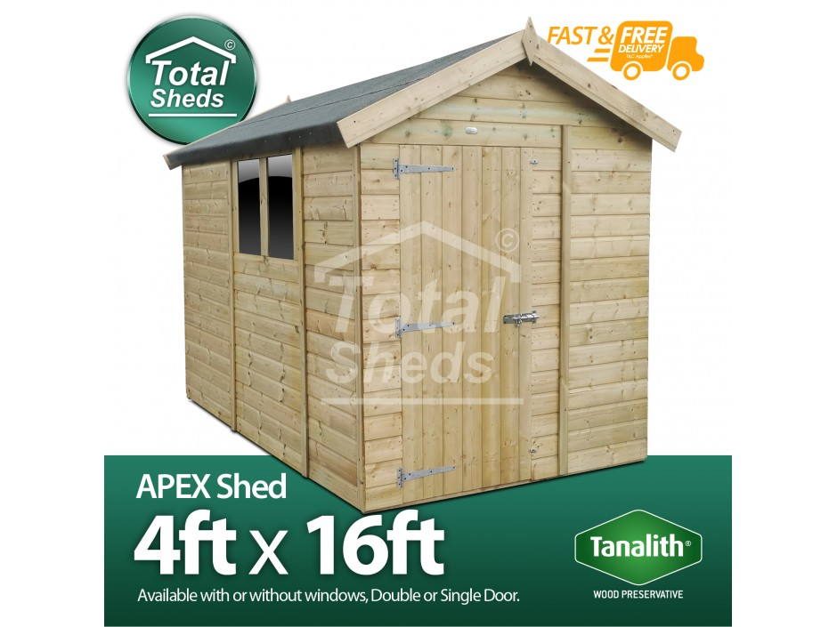 F&F 4ft x 16ft Apex Shed