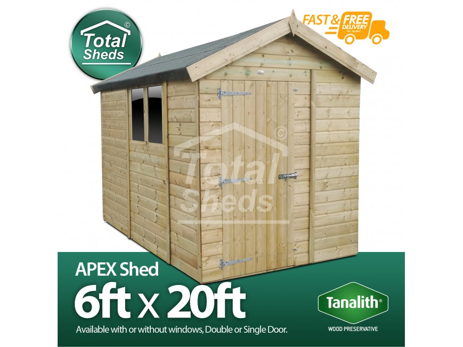 F&F 6ft x 20ft Apex Shed
