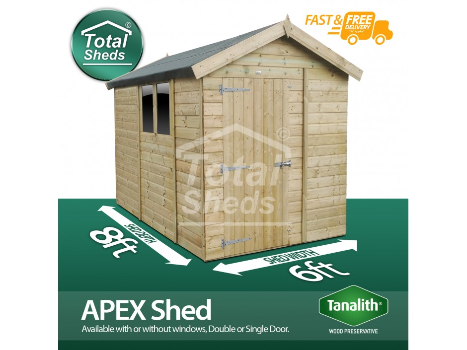 F&F 6ft x 8ft Apex Shed