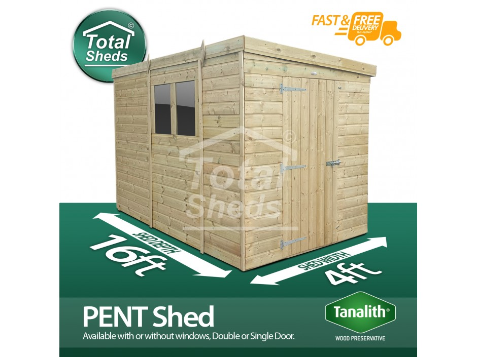 F&F 4ft x 16ft Pent Shed