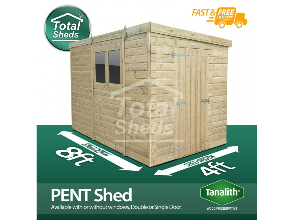 F&F 4ft x 8ft Pent Shed