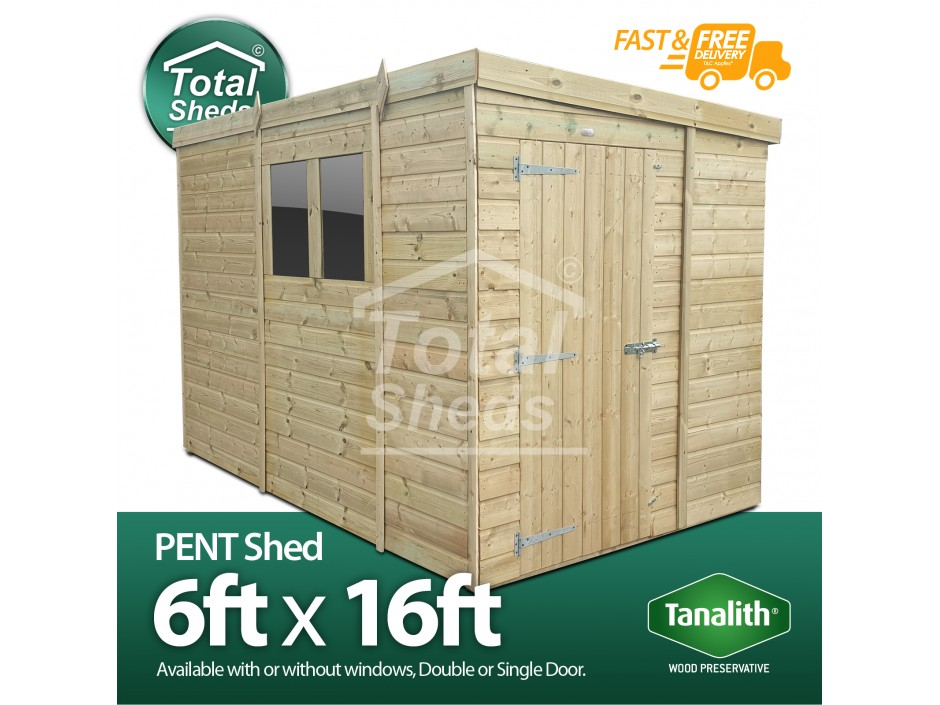 F&F 6ft x 16ft Pent Shed