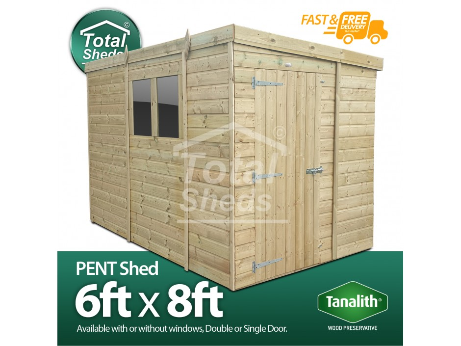 F&F 6ft x 8ft Pent Shed