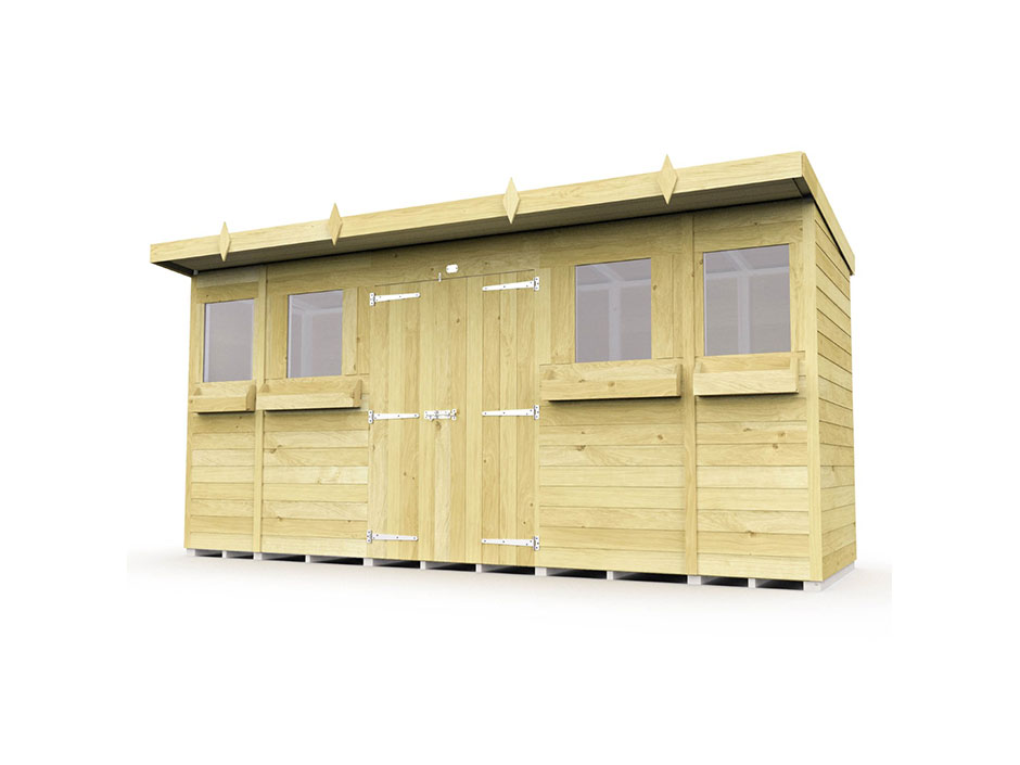 F&F 14ft x 4ft Pent Summer Shed