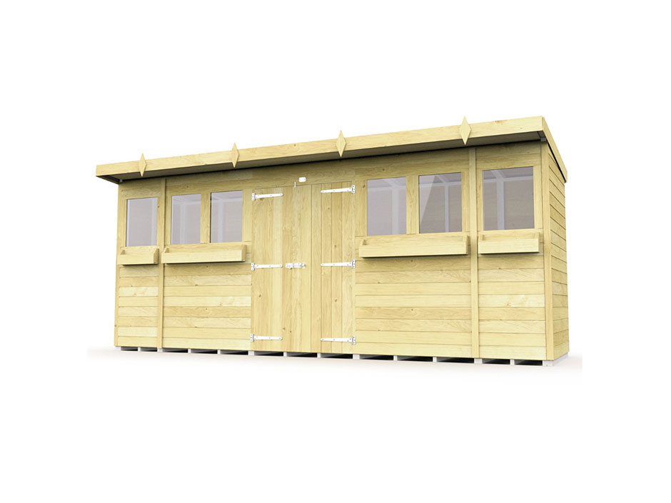 F&F 16ft x 4ft Pent Summer Shed