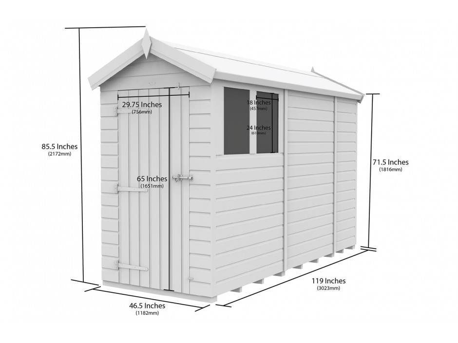 F&F 4ft x 10ft Apex Shed