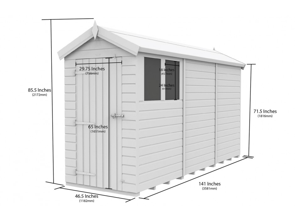 F&F 4ft x 12ft Apex Shed