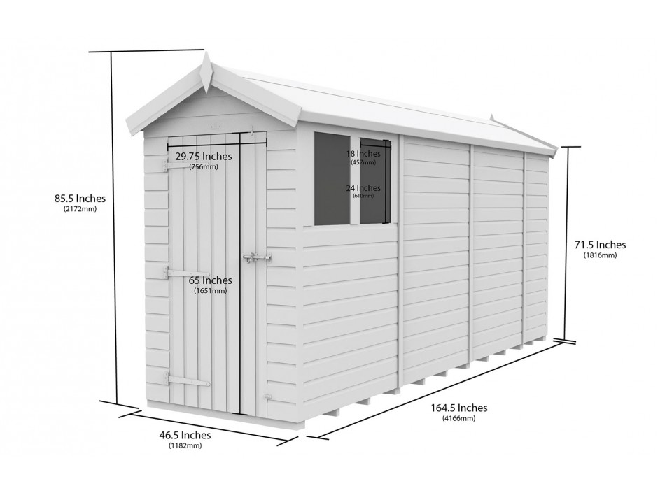 F&F 4ft x 14ft Apex Shed