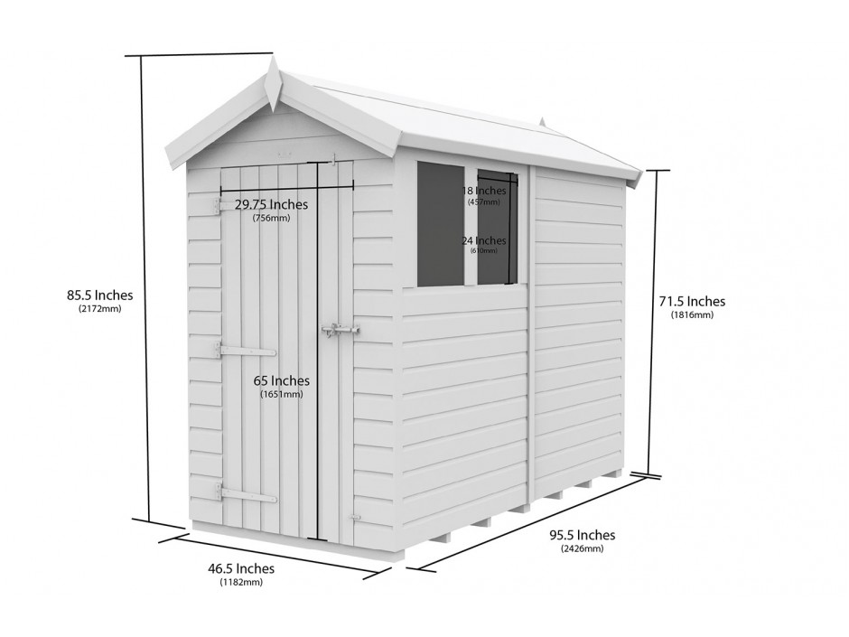 F&F 4ft x 8ft Apex Shed