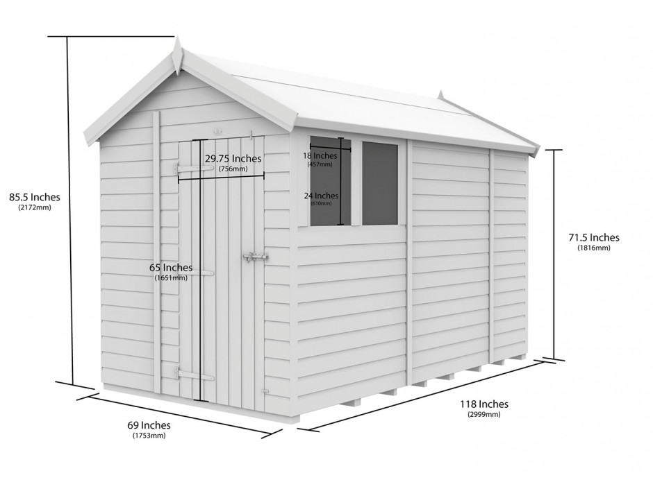 F&F 6ft x 10ft Apex Shed
