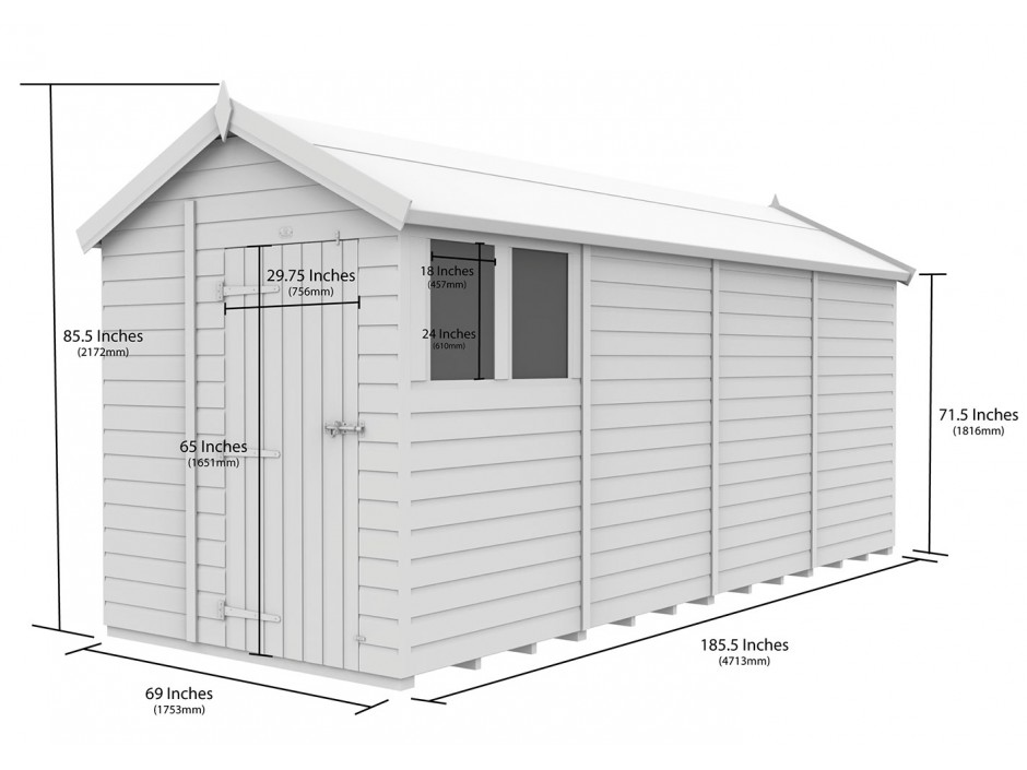 F&F 6ft x 16ft Apex Shed