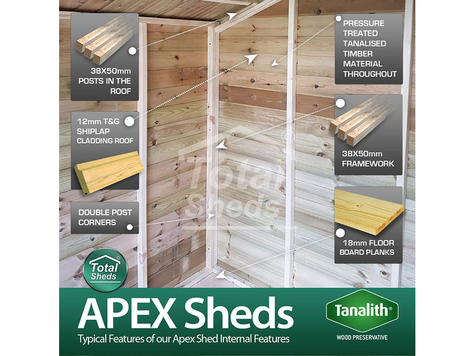 F&F 4ft x 4ft Apex Shed