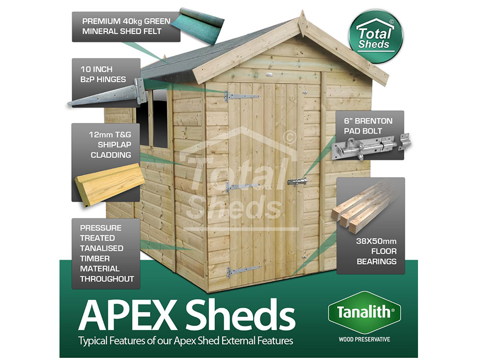 F&F 4ft x 18ft Apex Shed