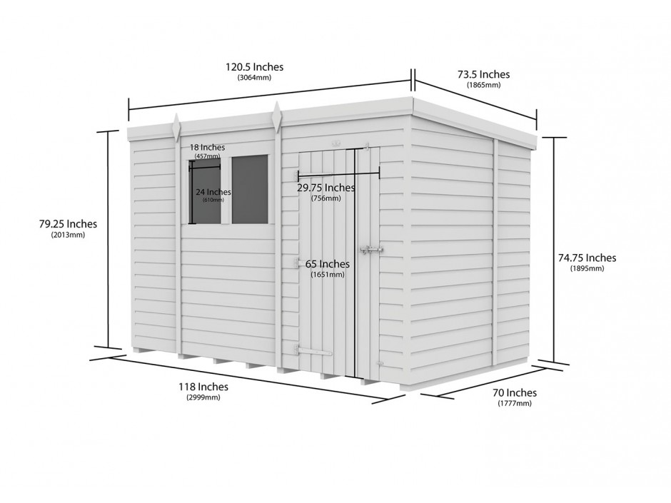 F&F 6ft x 10ft Pent Shed