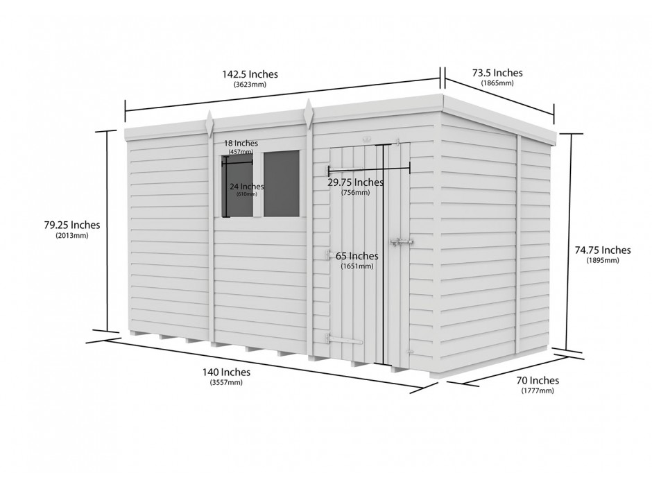 F&F 6ft x 12ft Pent Shed