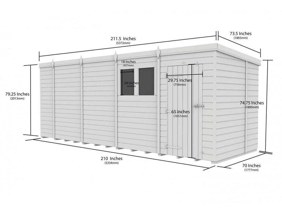 F&F 6ft x 18ft Pent Shed