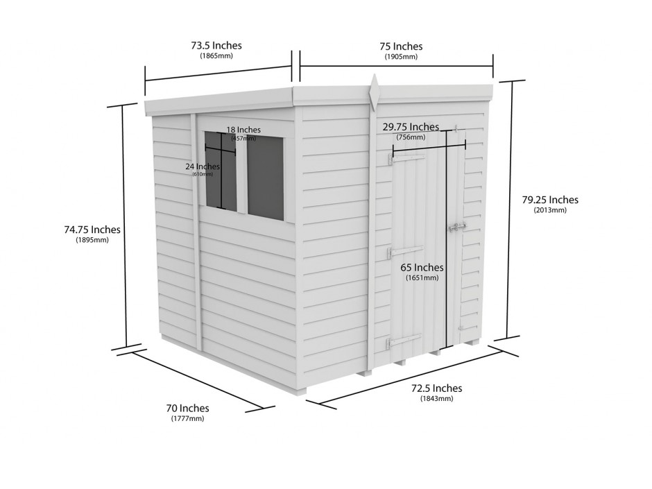 F&F 6ft x 6ft Pent Shed
