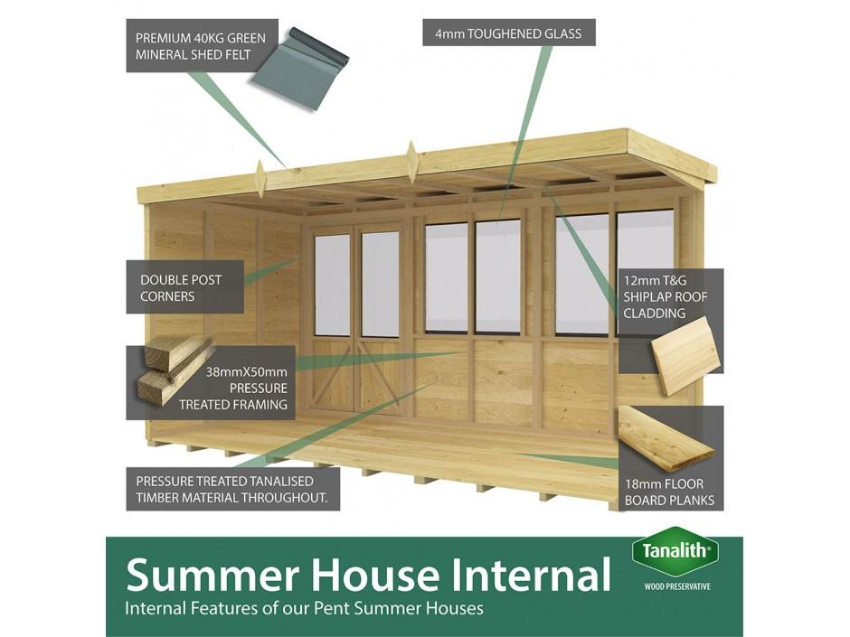 F&F 6ft x 4ft Pent Summer House