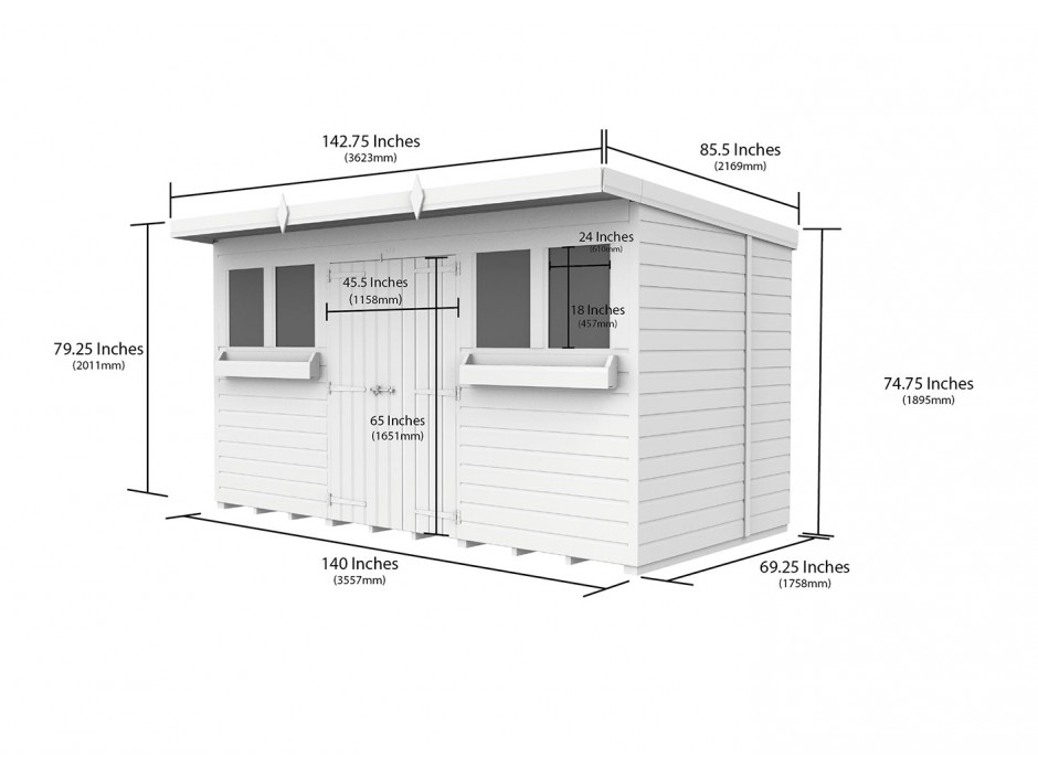 F&F 12ft x 6ft Pent Summer Shed