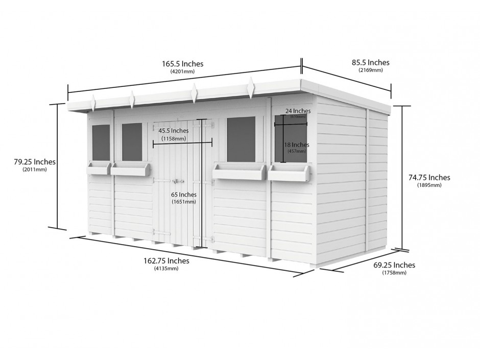 F&F 14ft x 6ft Pent Summer Shed