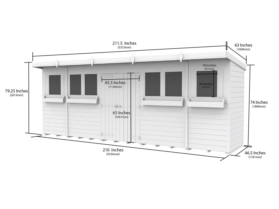 F&F 18ft x 4ft Pent Summer Shed