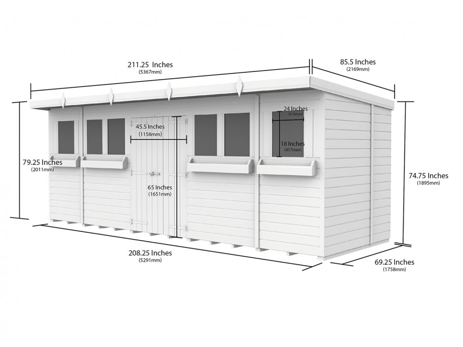F&F 18ft x 6ft Pent Summer Shed