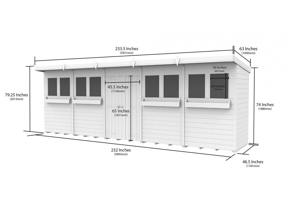 F&F 20ft x 4ft Pent Summer Shed