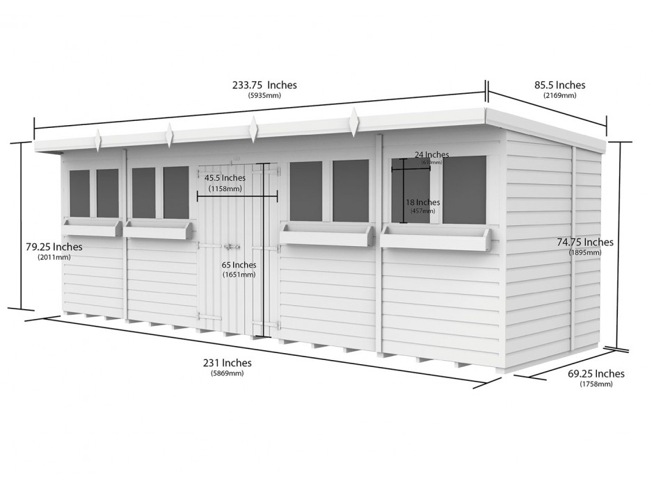 F&F 20ft x 6ft Pent Summer Shed