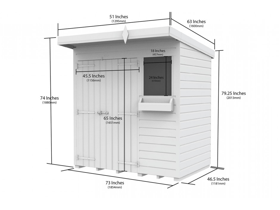 F&F 6ft x 4ft Pent Summer Shed
