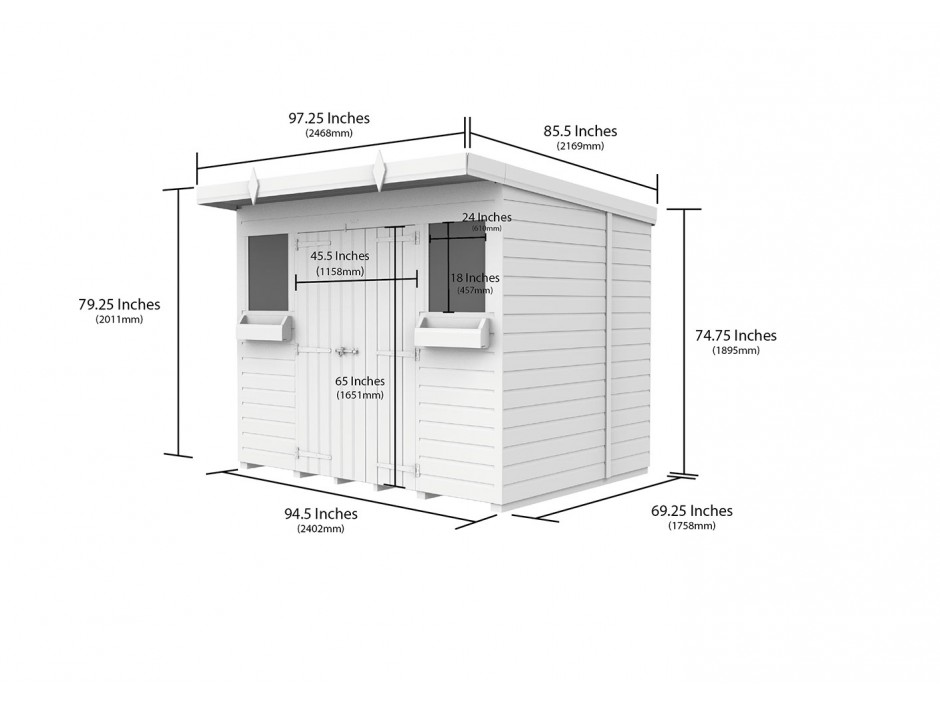 F&F 8ft x 6ft Pent Summer Shed