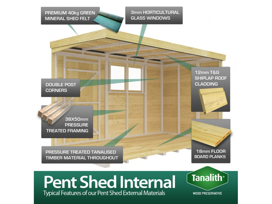 F&F 6ft x 6ft Pent Summer Shed