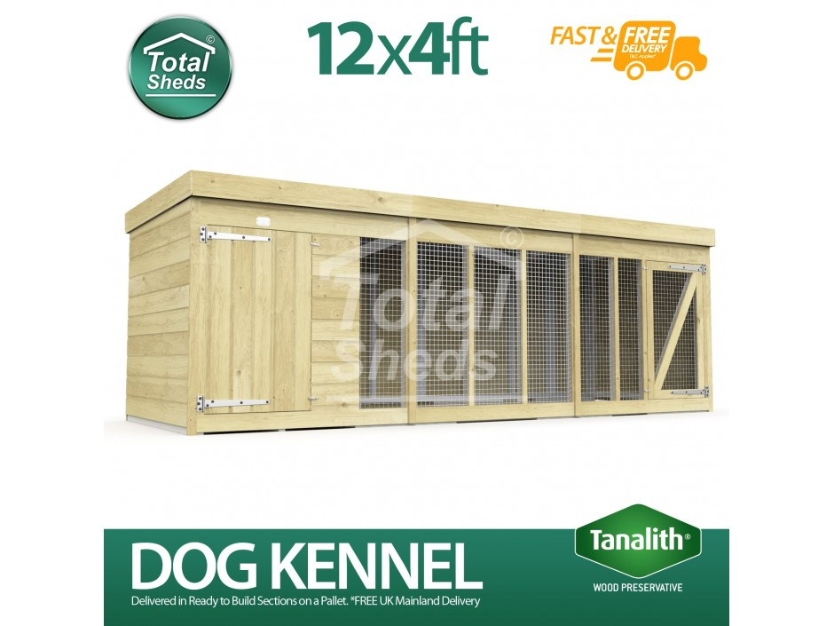 12ft X 4ft Dog Kennel and Run