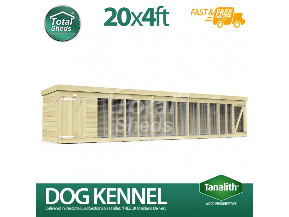 20ft X 4ft Dog Kennel and Run