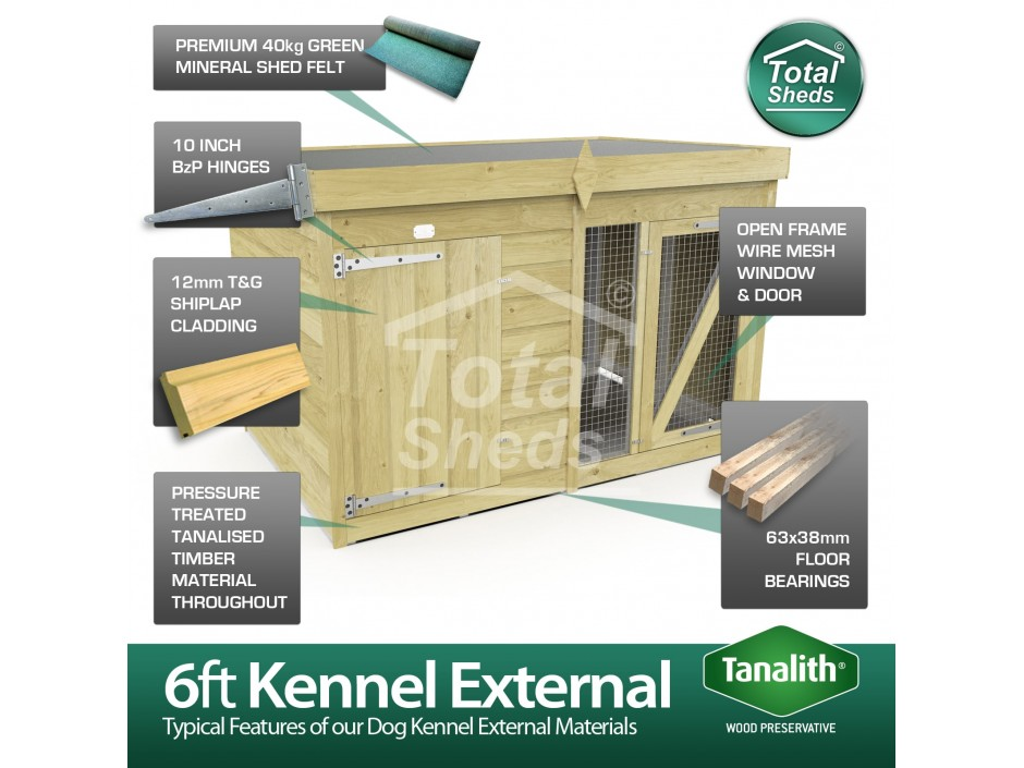 6ft X 4ft Dog Kennel and Run