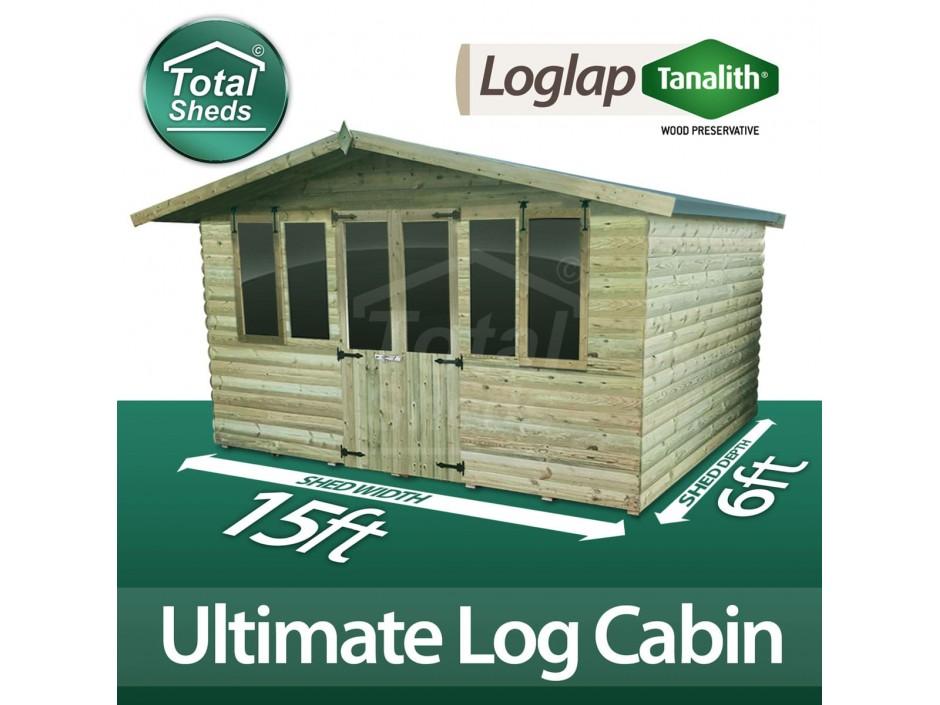 15ft X 6ft Log Cabin